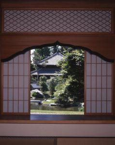 冬・書院からみた北庭園・孔子廟写真
